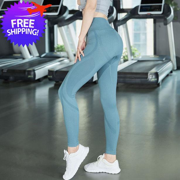 Women Plain Sport Legging Elastic High Waist Fast Dry Gym Yoga Pants