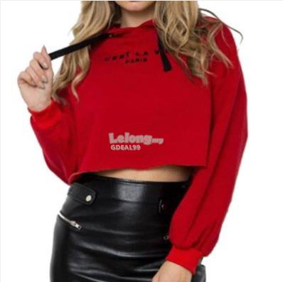New Women Pure-Color Letters Printed Long Sleeve Loose Red