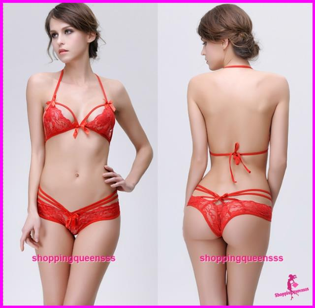 Women Red Lace Bikini Set Bra + Panties Sexy Lingerie Sleepwear -