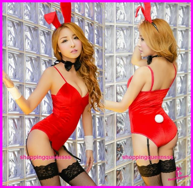 Women Red Rabbit Suit Garter Belts Costume Sleepwear Sexy Lingerie -