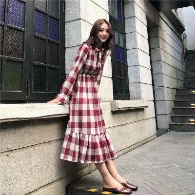 4fb011f2c Women Retro Plaid Doll Skirt Long Sk (end 4/4/2021 12:00 AM)