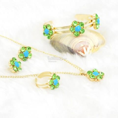 Women's Flower Shape Rhinestone Jewelry Set