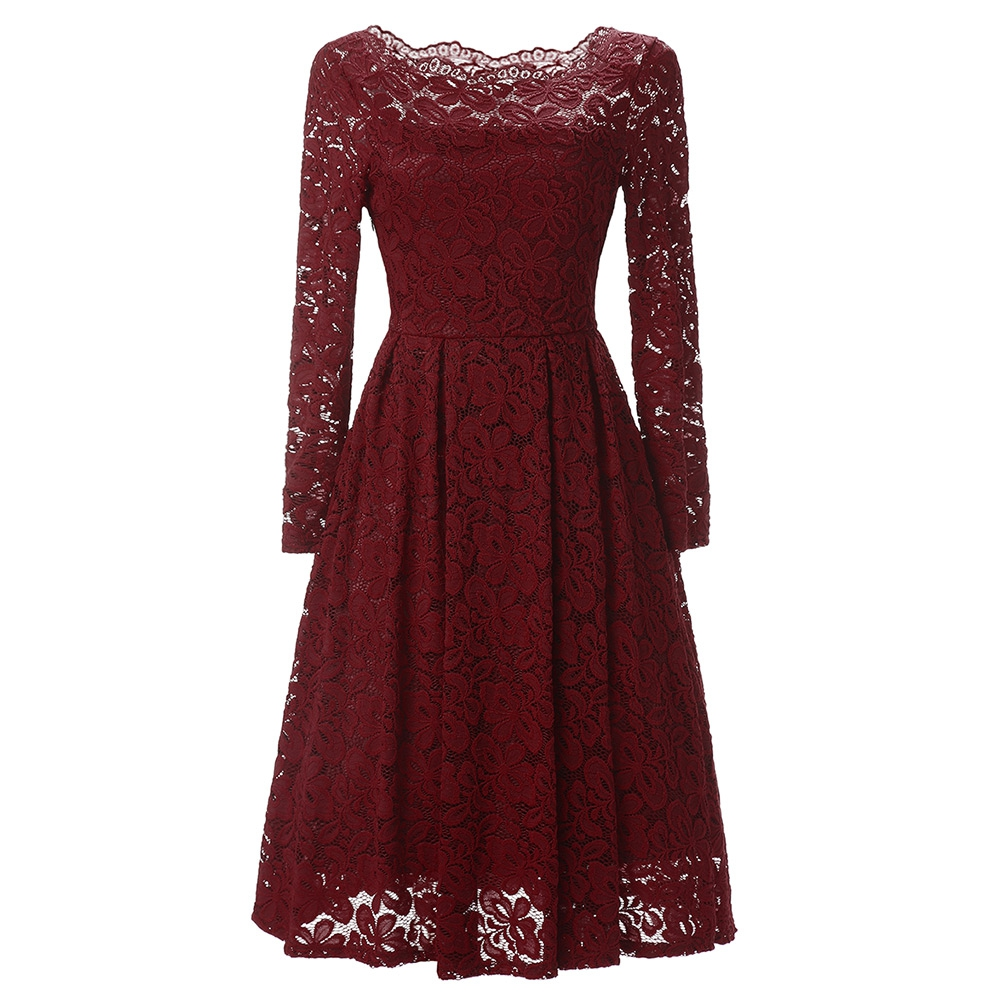 WOMEN S LONG SLEEVE ROUND COLLAR HOLLOW OUT LACE DRESS (DEEP RED) 7408f761bb