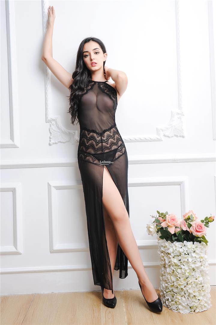 Women's transparent long section open erotic lingerie set