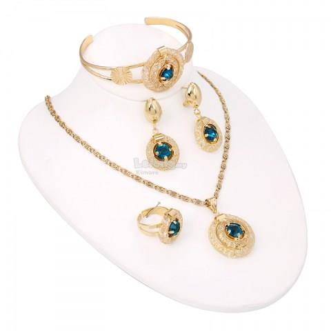 Women's Vintage-inspired Gold-plated Rhinestone Jewelry Set