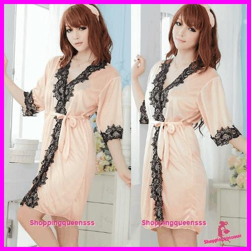 Women Satin Silky Sleepwear Robes Sexy Lingerie Sleepwear Pajamas -