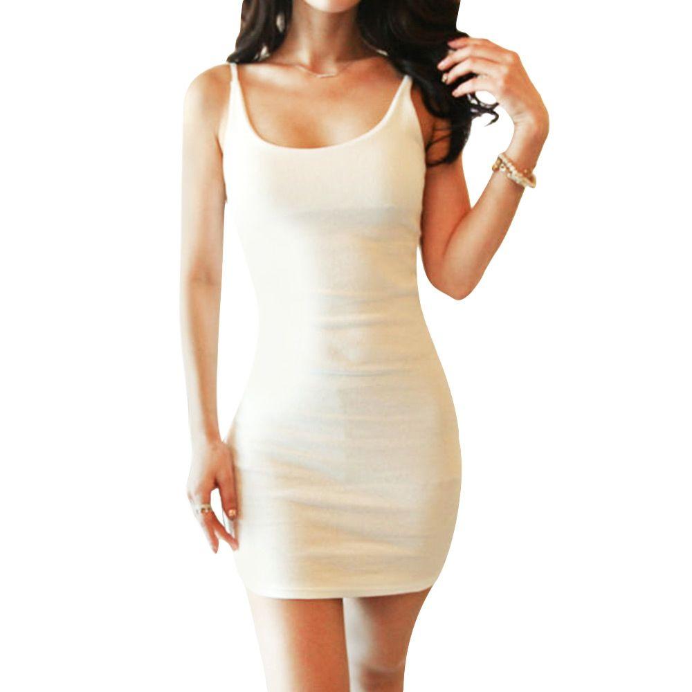 b5ecbec1bfd8 WOMEN SCOOP NECK SUSPENDER WRAPPED HIP SHEATH MINI DRESS (WHITE, SIZE S/M