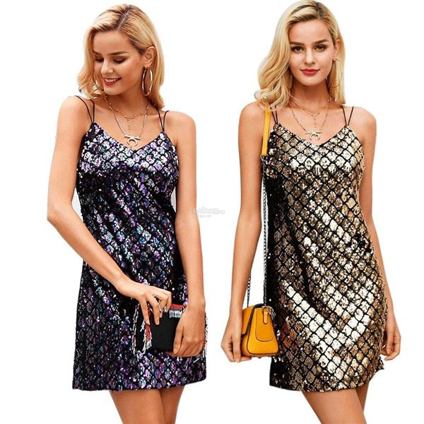 New Women Sexy Backless Sequins Slim Pencil Party Hip-Wrapped Dress