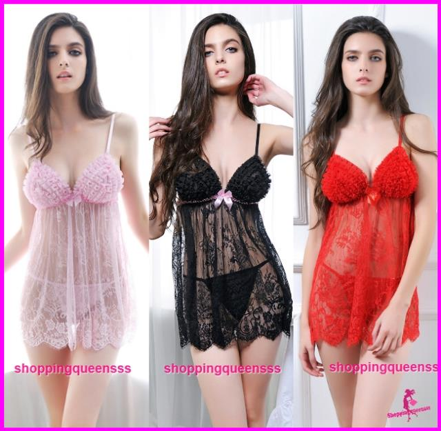 Women Sexy Lingerie Babydoll Dress Sleepwear Pajamas (3 Colors) -