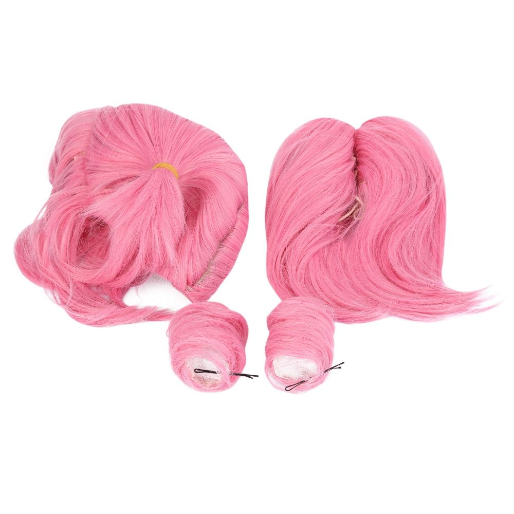 WOMEN SPLIT TYPE MEDIUM PINK WIGS WITH 2 PONYTAILS DOUBLE BUN HAIR ANIME COSPL