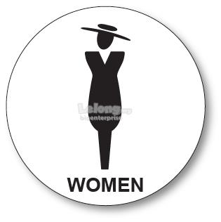 WOMEN TOILET ACRYLIC SIGN BOARD 100MM DIAMETER