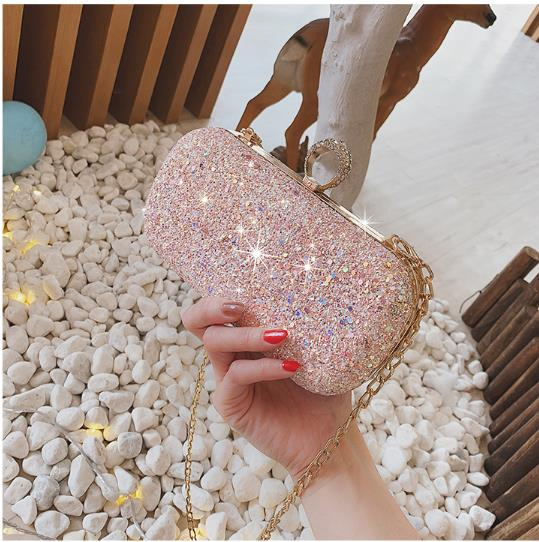 Women New Trend Sling Chain Small Sequin Evening Fashion Bag