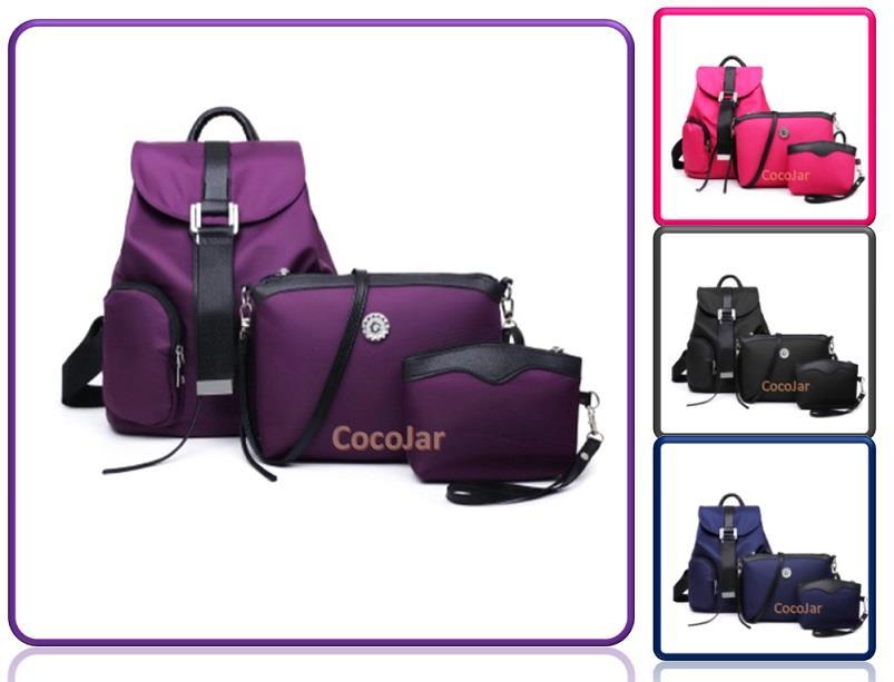 39034458619b Women Waterproof Nylon 3-in-1 Backpack Sling Bag and Clutch Bag Wallet. ‹ ›