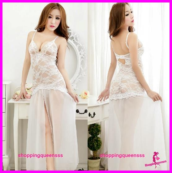 Women White Lace Low-Cut Dress Sexy Lingerie Sleepwear Pajamas -