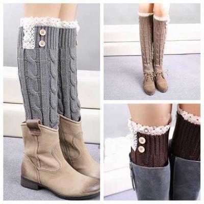 09d70daca Women Winter Leg Warmer Knit Boot Socks Lace Long Style Button Topper. ‹ ›