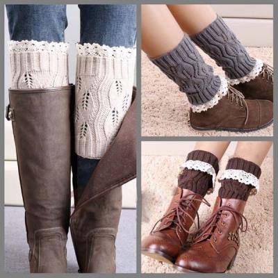 520386854 Women Winter Leg Warmer Knit Boot Socks Nylon Lace Topper Cuff Boot. ‹ ›