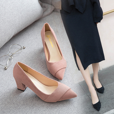 929b8119fc9 Women Work Shoes Professional High Heel Scoop Shoes Thick Heel Plus Si
