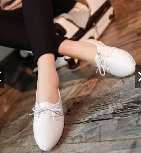 acba76a902e Womens Casual Flats Slip On Pointed Toe Loafers Lace Up Ballet Boat
