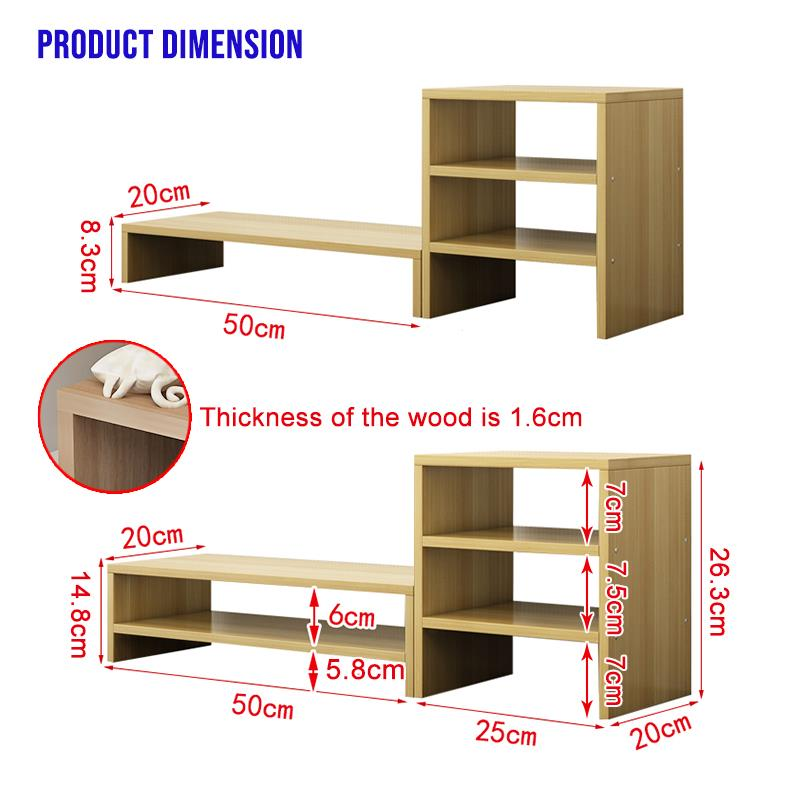 Wood Computer Monitor Stand Riser (Double Layer with Divider)