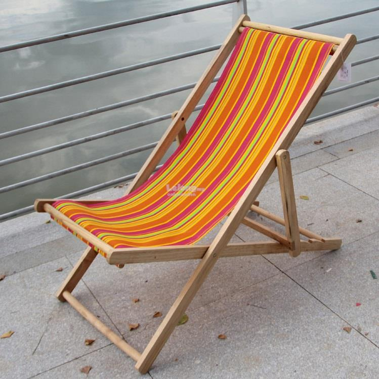 Wooden Beach Chairs, Foldable, Balcony, Garden, Canvas Recliner Chair