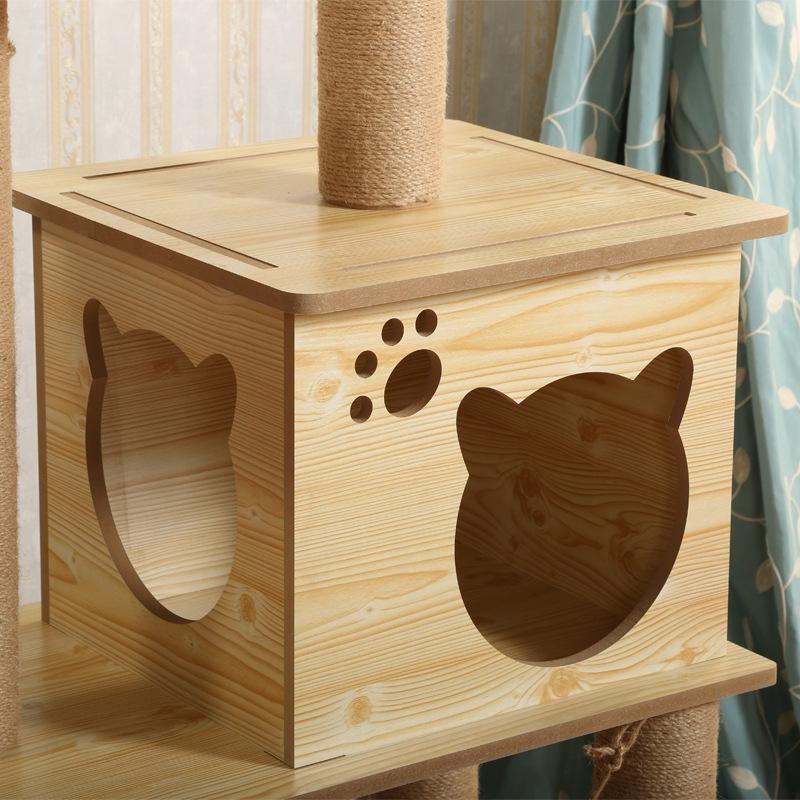 Wooden Cat Tree Scratcher Tower Playhouse Pet Kitten Condo Bed Scratch