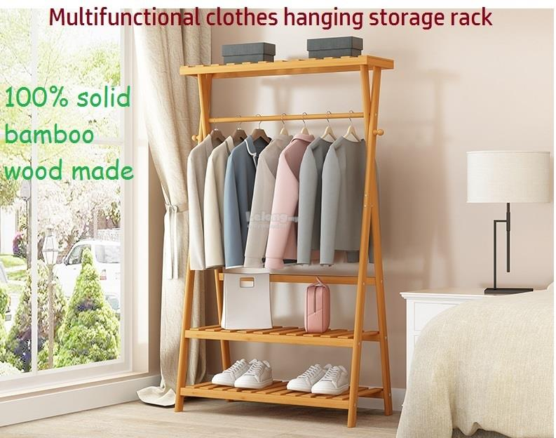 Attractive Wooden Clothes Hanging Storage Rack, Wood Multi Functional Shelf