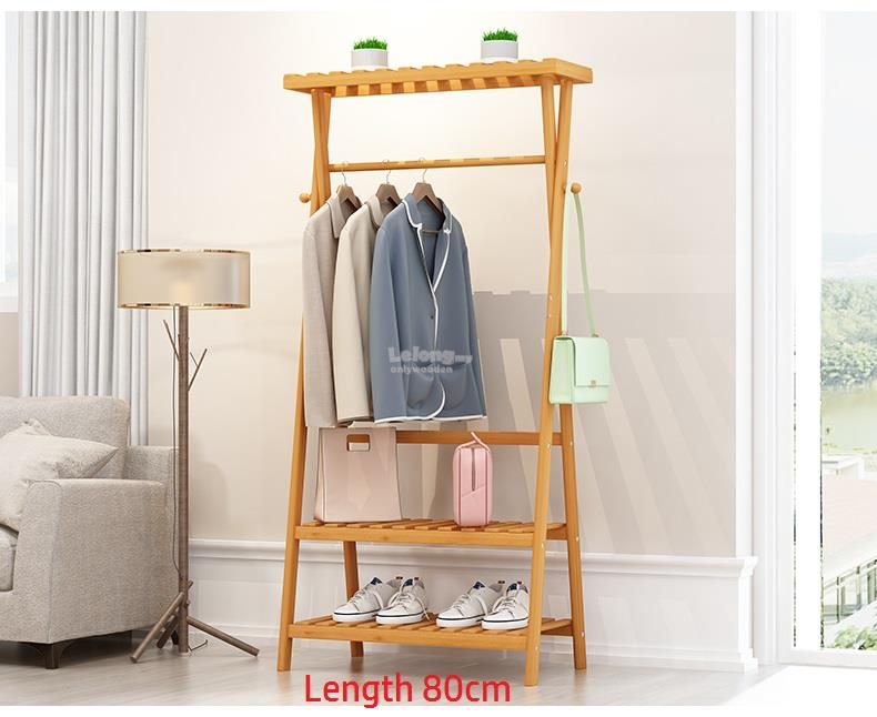 Wooden Clothes Hanging Storage Rack, Wood Multi Functional Shelf