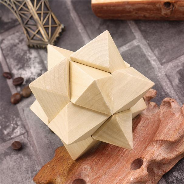 Wooden Educational Toy Recreational Kongming Lock Brain Teaser Puzzle