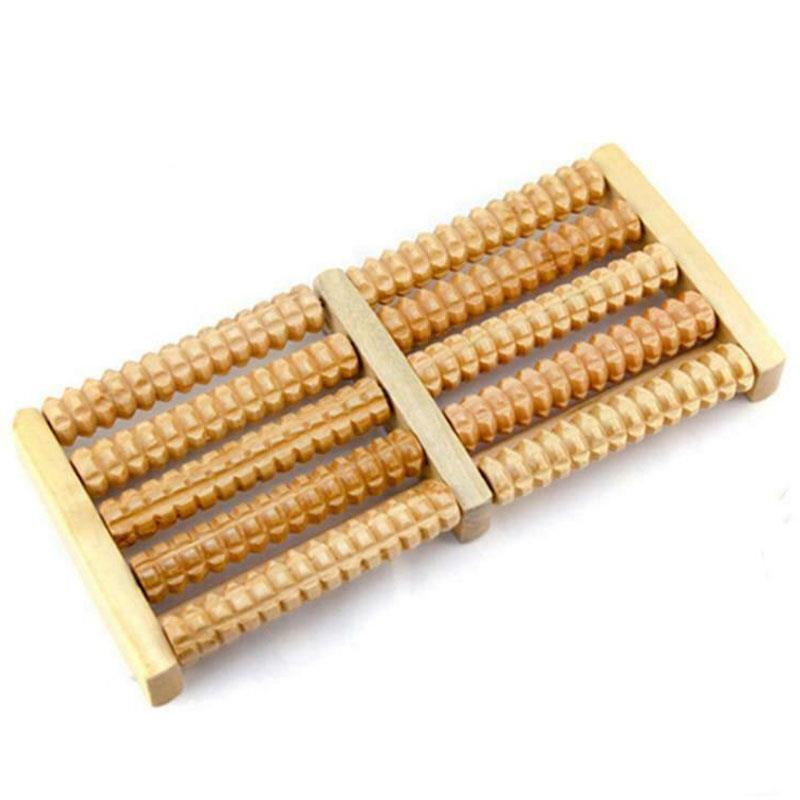 Wooden Foot Massager Roller Relieve Acupressure Massage Footrest
