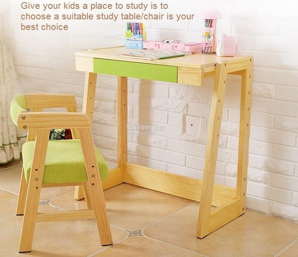 Wooden Kids Children Student Table Chair Set Study (Adjustable) & Wooden Kids Children Student Tabl (end 12/15/2018 3:36 PM)