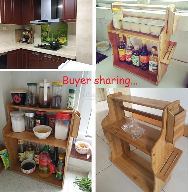Wooden Kitchen Table Spice Rack, DIY Wood Shelf, Portable Storage