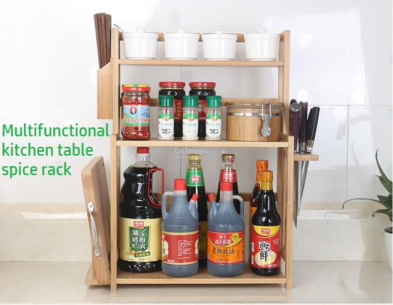 Wooden Kitchen Table Spice Rack, Wood Shelf, Portable Storage Shelve