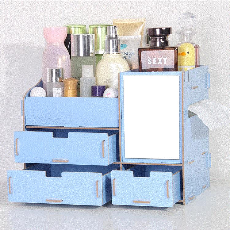 Wooden Makeup Storage Jewelry Cosmetics Storage Organizer with Mirror & Wooden Makeup Storage Jewelry Cosme (end 6/16/2020 11:22 AM)
