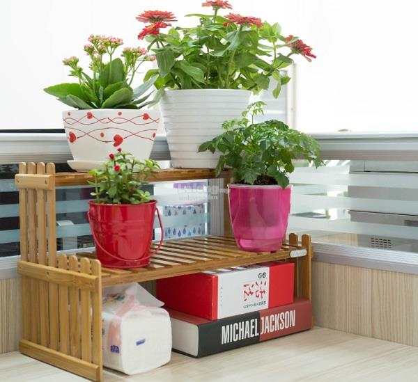 office flower pots. Wooden Office Table Mini Flower Rack, DIY Wood Shelf, Pots Shelve