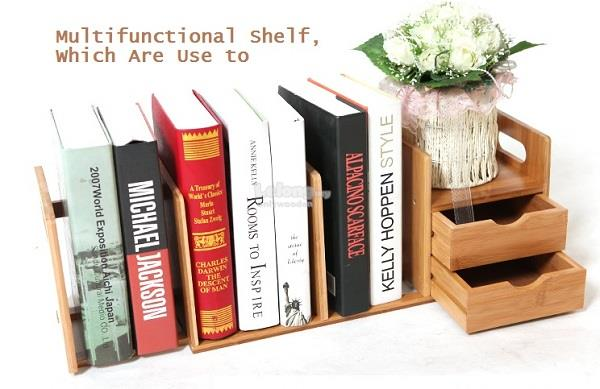 Wooden Office Table Rack, Desktop Retractable Bookshelves, DIY Shelves