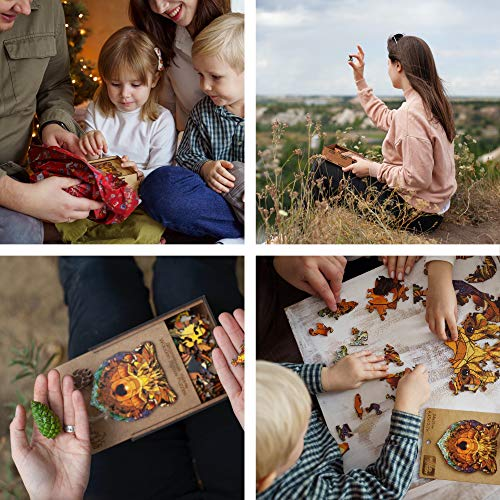Wooden Puzzles for Adults Kids Families – Bear Russia Real Wood Jigsaw Anima