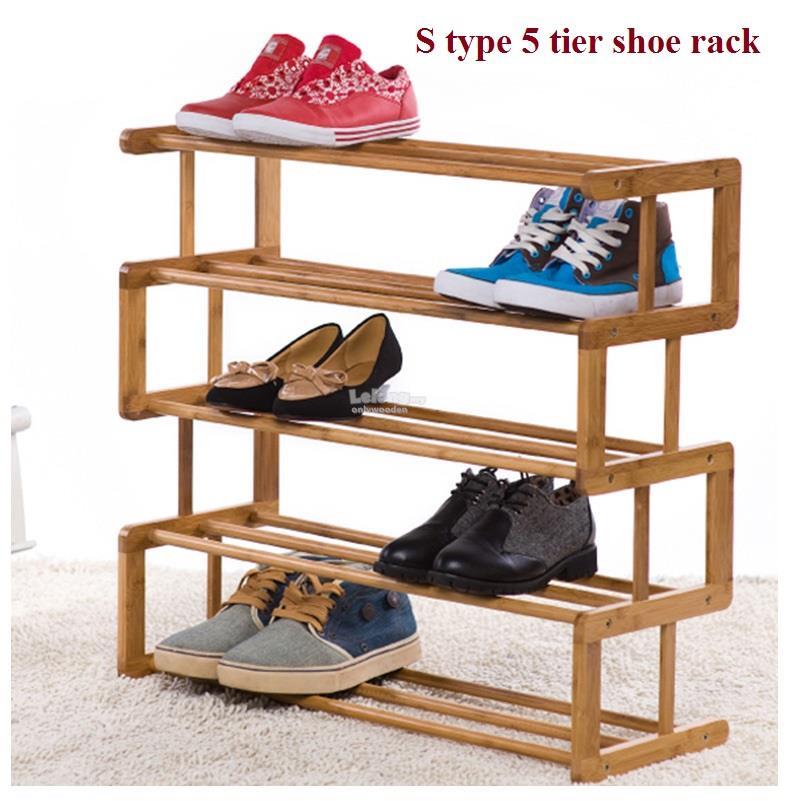 Shoes Rack Part - 20: Wooden Simple S-type Shoe Rack Multi-layer, DIY 5 Tier Wood Shoe