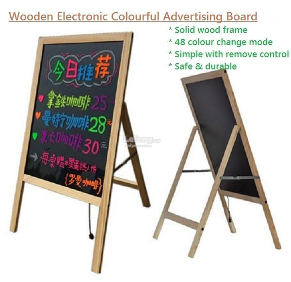 Wooden Stand Fluorescent Board, LED Handwriting, Colourful Advertising
