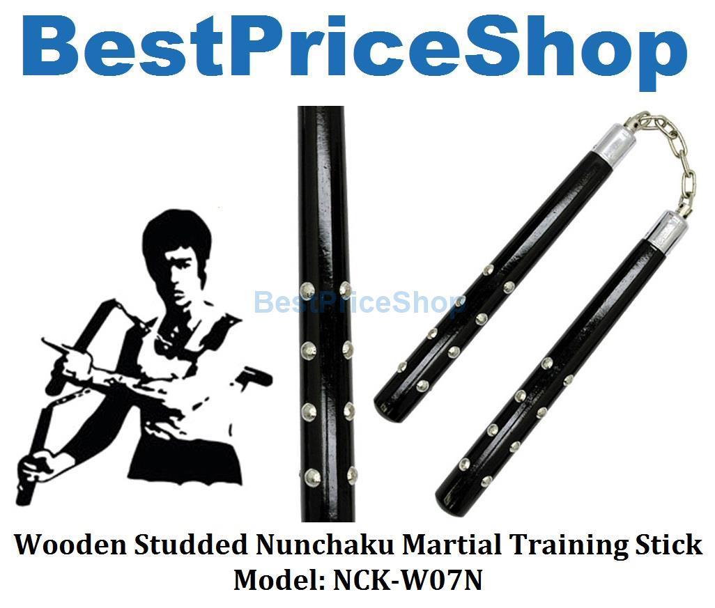 Wooden Studded Nunchaku Martial Art Bruce Lee Fighting Stick NCK-W07N