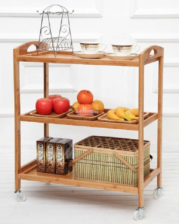 Wooden Trolley, Movable Carts, Portable Shelving, DIY Wood Rack
