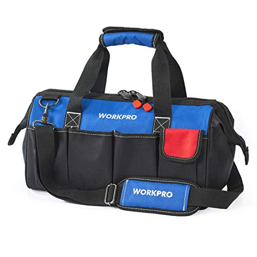 WORKPRO 18-inch Close Top Wide Mouth Storage Tool Bag with Adjustable Shoulder