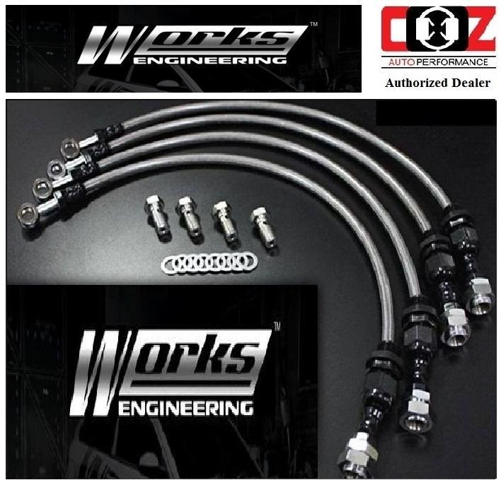 WORKS ENGINEERING STEEL BRAKE HOSE KIT VOLVO S60 T5 2001 +