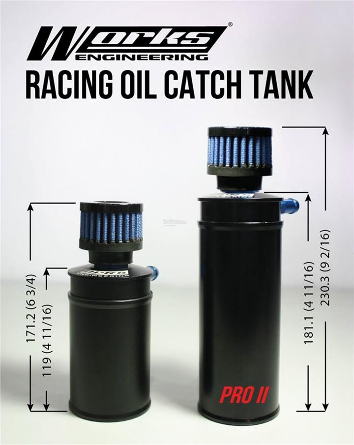 Works Pro-2 Oil Catch Tank with Mini Filter - SMALL