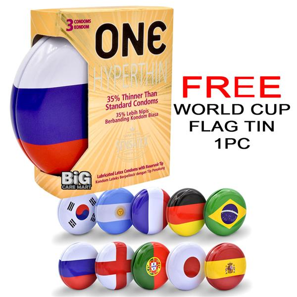 World Cup Edition One Hyperthin Condoms 3s (Extra Thin)