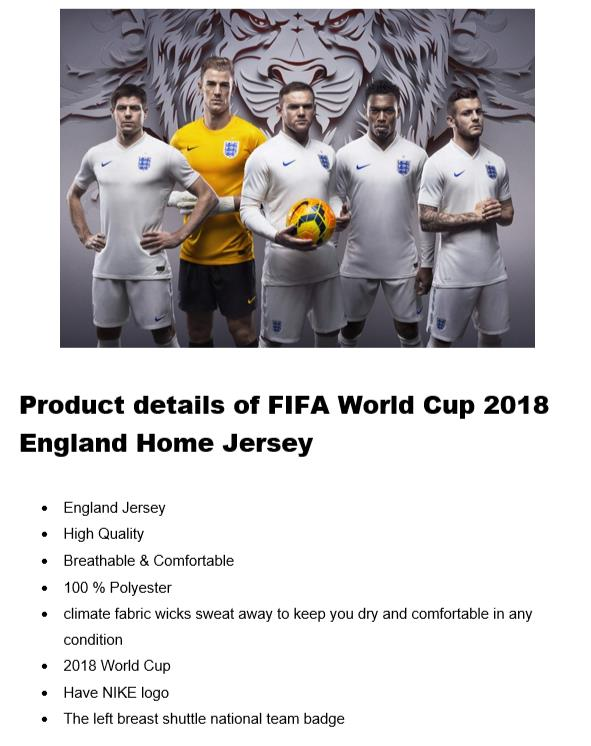 World Cup England Home Jersey (HIGH QUALITY)