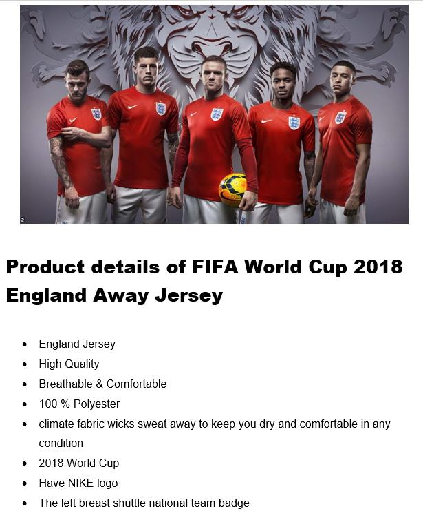 World Cup England Away Jersey (HIGH QUALITY)