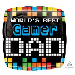 World's Best Gamer DAD 17in Square Foil Balloon 37225