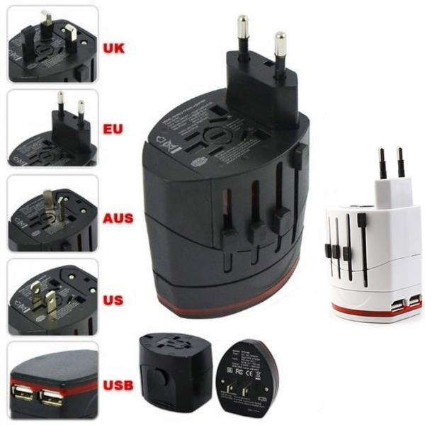 World Travel USB Universal AC Power Adapter 2 Usb Charger AC/DC