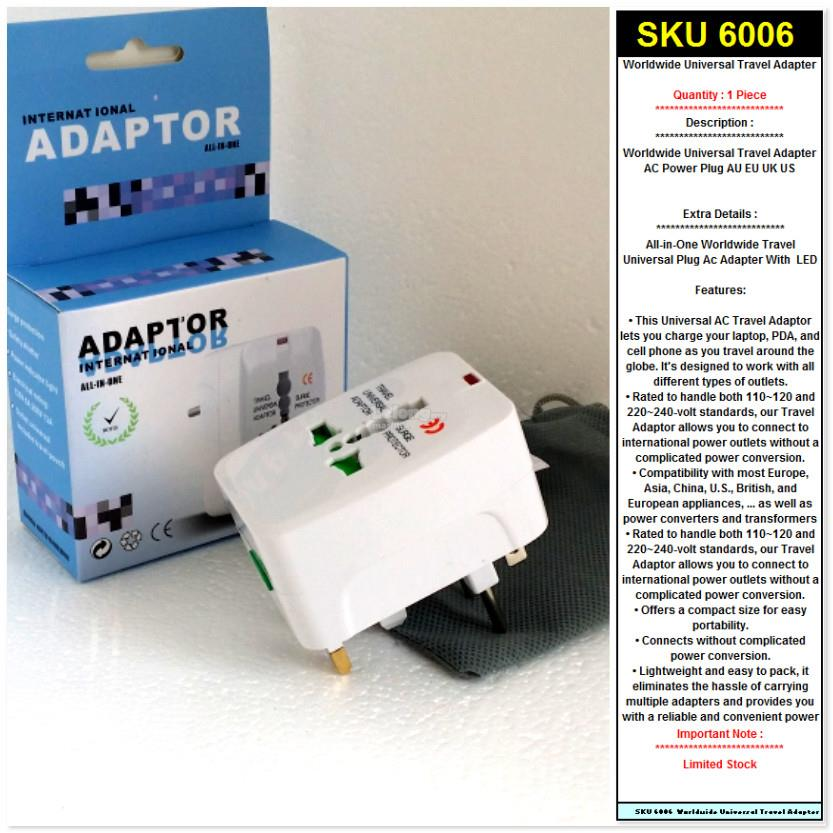 Worldwide Universal Travel Adapter  AC Power Plug AU EU UK US