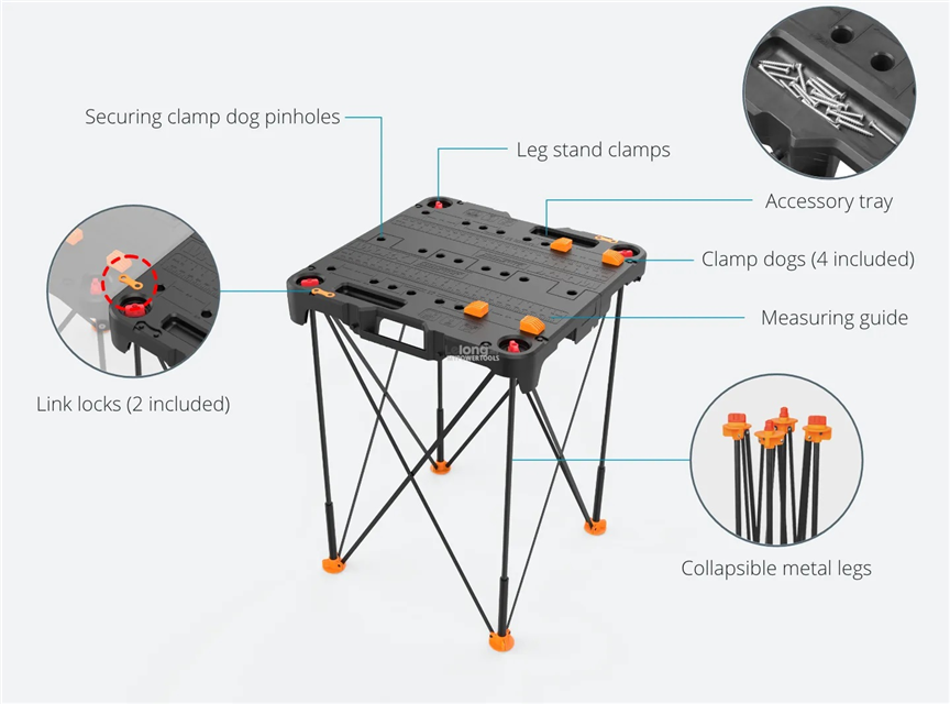 "Worx 24"" x 24"" (135kgs load) SideKick Portable Folding Working Table"